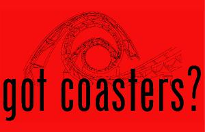 Got Coasters? Red Background Poster Print