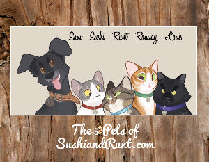 The 5 Pets of SushiandRunt.com Calendar