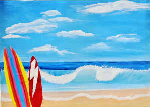 Card Surfboards And Waves Painting