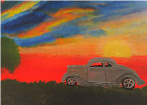 Note Card Vintage Coupe Car And Full Sunset Sky