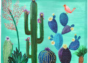 Card Painting Of Cactus And Bird
