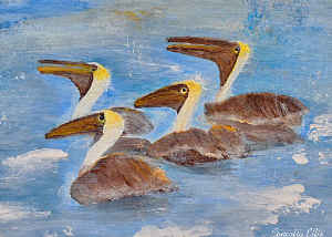 Note Card Pelicans Abstract Painting