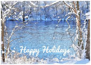 Happy Holidays Card Blue