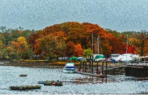 Bass Haven Yacht Club in Autumn Poster