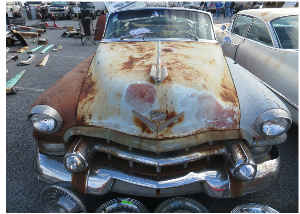 Rusted Car and Hubcaps Card