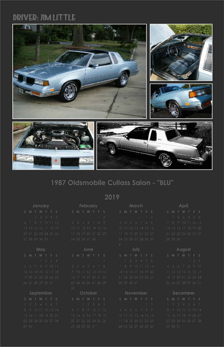 1987 Oldsmobile Cutlass Salon Blu Calendar Create Photo Calendars