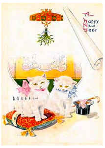 Vintage Cat New Years Card 4