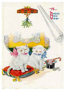Vintage Cat New Years Card 1