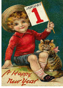 Vintage Cat New Years Card 3