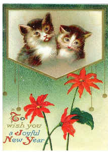 Vintage Cat New Years Card 2