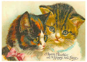 Vintage Cat Christmas Card 1