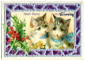 Vintage Cat Christmas Card 3