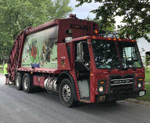 Red Garbage Truck Canvas Wrap