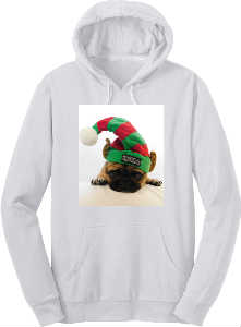 LUCY THE LUV PUG HOLIDAY HOODIE
