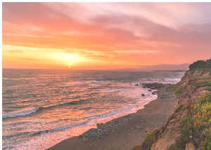 Photo Card - Moonstone Beach California Sunset