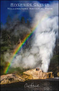 Riverside Geyser with rainbow