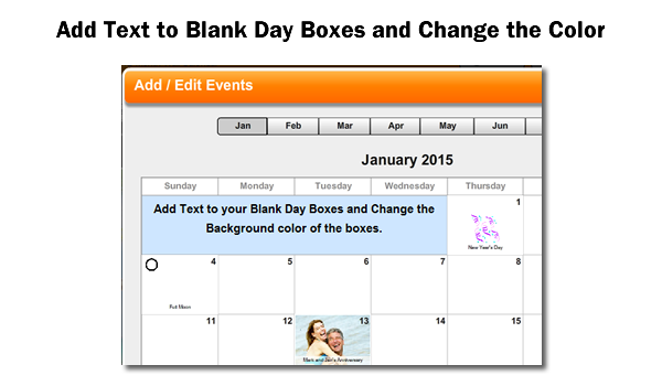 add text to blank day boxes and change the color