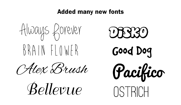 added many new fonts